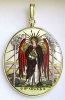 Archangels Uriel and Michael A Double Side Painted Medallion