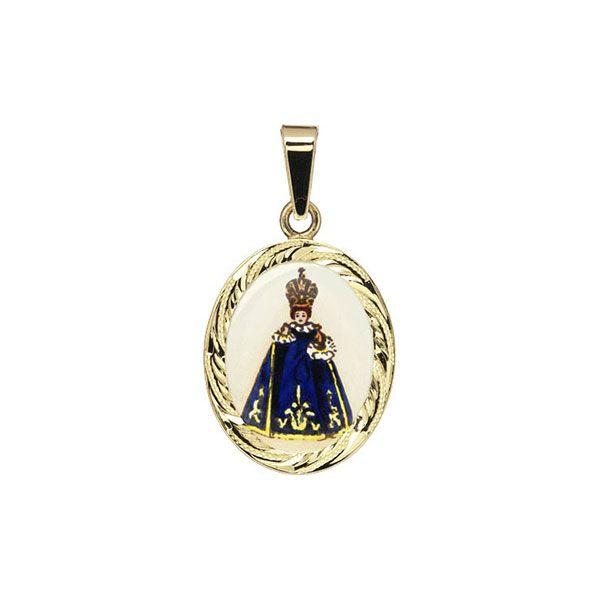 185R blue Holy Child of Prague Medallion