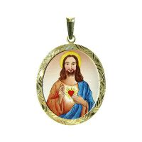 Sacred Heart of Jesus the Biggest Medallion blue