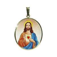 Sacred Heart of Jesus the Biggest Medal blue