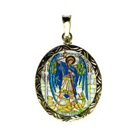 Archangels Uriel and Michael Double Side Painted Engraved Medallion